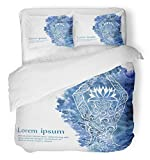 Emvency Bedsure Duvet Cover Set Closure Printed Blue Namaste Yoga with Ornamental Women and Watercolor Colorful Meditation Spa Lotus Decorative Breathable Bedding With 2 Pillow Shams Full/Queen Size