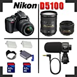 Nikon D5100 SLR 16.2MP Digital Camera with 18-55mm II AF-S DX Lens + AF-S DX VR Zoom-NIKKOR 18-200mm f/3.5-5.6G IF-ED + AF-S DX NIKKOR 35mm f/1.8G + 2x 4GB SDHC Memory Card + Hi-Speed SD Card Reader + 2 Extended Life Batteries + Tulip Lens Hood + Nikon ME-1 Microphone - Video Kit
