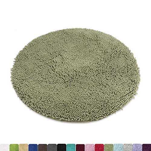(MAYSHINE Round Bath Mat Non-Slip Chenille 3ft Shaggy Bathroom Rugs Extra Soft and Absorbent Perfect Plush Carpet for Living Room Bedroom, Machine Wash/Dry-Sage Green)