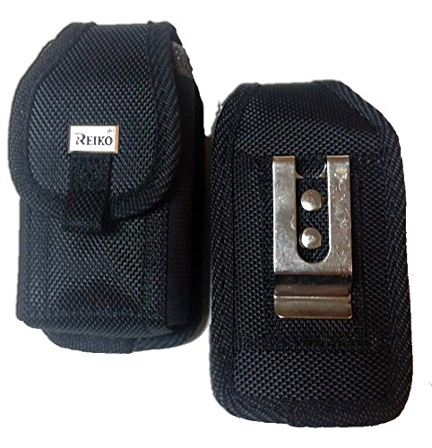 Reiko Black Rugged Heavy Duty Ballistic Nylon case with Metal Clip and Belt Loop for Kyocera DuraXT. (Duraxt Clip)