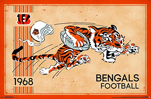 - Trends International Cincinnati Bengals - Retro Logo Premium Wall Poster, 22.375