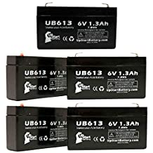 5x Pack - CRITICARE SYSTEMS 503S Battery - Replacement UB613 Universal Sealed Lead Acid Battery (6V, 1.3Ah, 1300mAh, F1 Terminal, AGM, SLA) - Includes 10 F1 to F2 Terminal Adapters