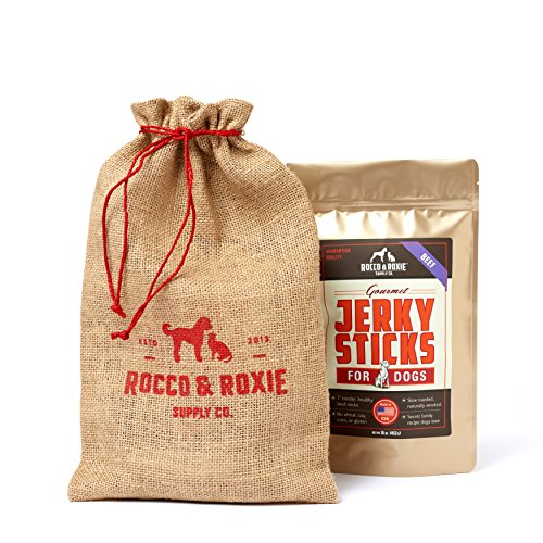 Rocco & Roxie Gourmet Jerky Dog Treats – Slow Smoked, Delicious, Tender AND Healthy 7″ Jerky Sticks – Beef – 16 oz. Bag