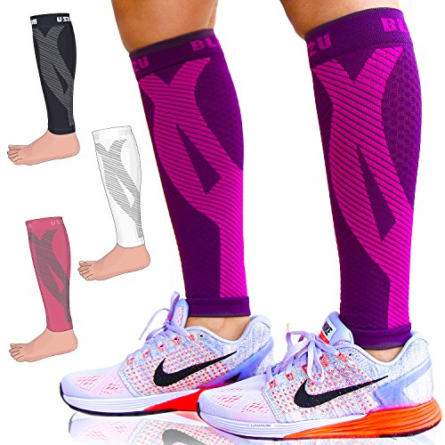 Calf Sleeves (1 Pair) Blitzu Power+ Compression Men and Women Performance Leg Guards. True Graduated Compression. Improves Circulation, Aids Muscle Recovery Purple S/M