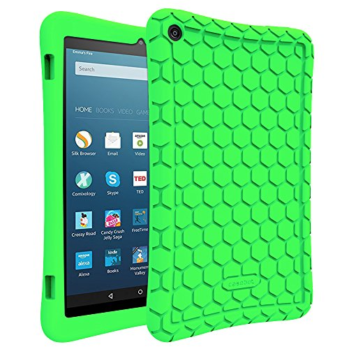 Fintie Silicone Case for Amazon Fire HD 8 (Previous Generation - 6th) 2016 release - [Honey Comb Series] Light Weight Anti Slip Shockproof Kids Friendly Cover (NOT Fit All-New Fire HD 8 2017), Green