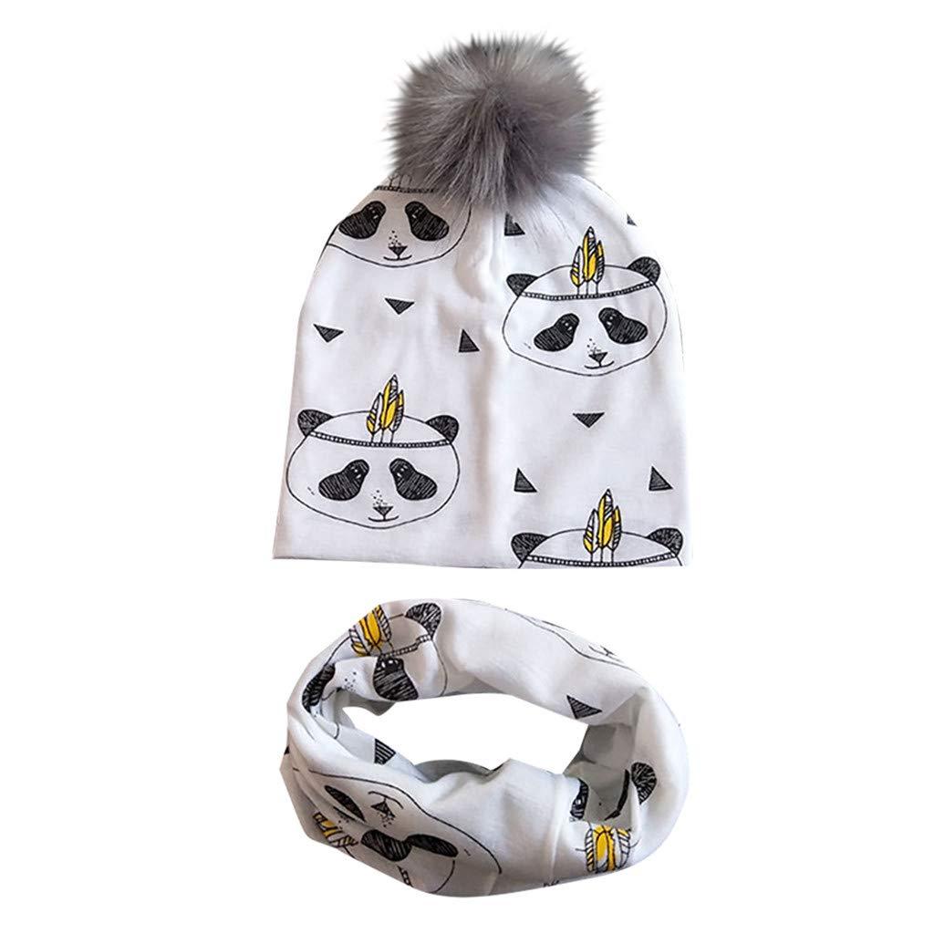 Womola 2pcs Baby Infant Kids Hairball Hat Scarf Set Cartoon Print Cap Neckerchief Detachable Cotton Breathable