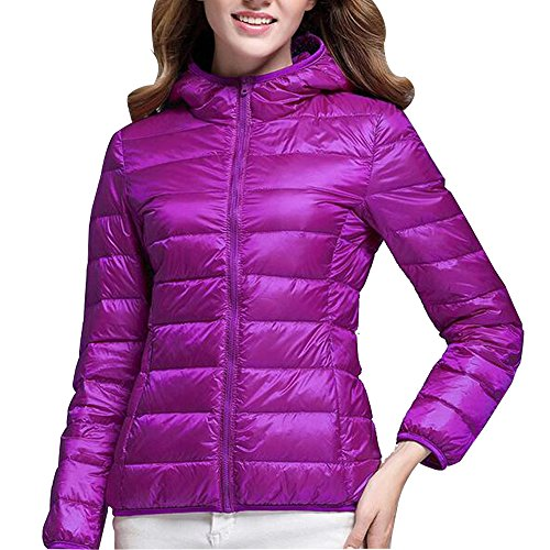 Hooded Light Women's Weight Short Down Coat Ultra Jacket Outdoor Purple Packable XFentech wqOpT