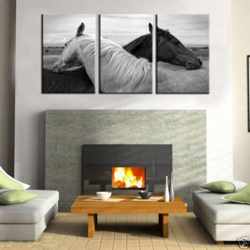 100% Genuine Real Hand Painted Black and White Horses Lover 3 Pieces Canvas Oil Painting for Home Wall Art Decoration, Not a Print/ Giclee/ Poster, Framed, Ready to Hang