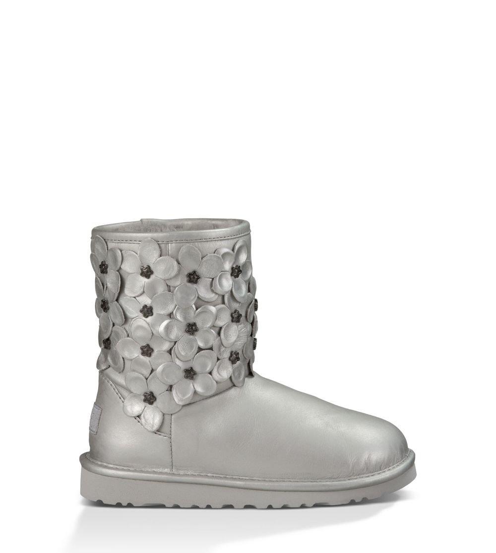 UGG Kids Girl's Classic Short Flora (Little Kid/Big Kid) Sterling Leather Boot 3 Little Kid M