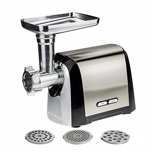 Electric Meat Grinder, Meat Mincer 1200W Home Sausage Stuffer, Commercial Stainless Steel Meat Food Grinding Machine with 3 Cutting Plates, Cutting Blade Built-in Reverse Function
