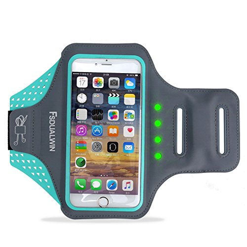 Price comparison product image FSDUALWIN iPhone 7 Plus Armband with Self-generating Safety LED, Sports Arm Band, Waterproof Fingerprint Touch Supported Arm Case with Card Slot for iPhone 6 / 6s / 7 Plus(5.5 inch) (Blue)