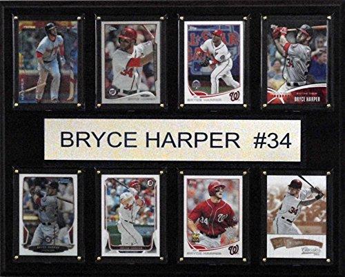 C&I Collectables MLB Washington Nationals Bryce Harper 8-Card Plaque, 12 x 15-Inch, Brown (Memorabilia Nationals Washington)