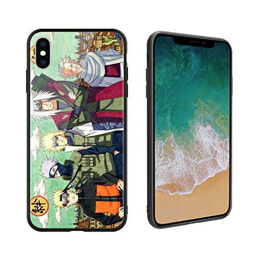Anime Comic Manga Naruto 176 Design, Tempered Glass Case for iPhoneXs Max, Soft Silicone Bumper Anti-Scratch Ultra-Thin, iPhoneXs Max Phone Cover for Girls, Teens