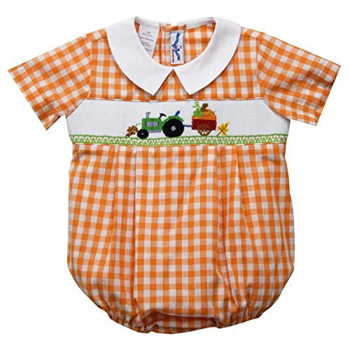 Silly Goose Tractor Smocked Short Sleeve Boys