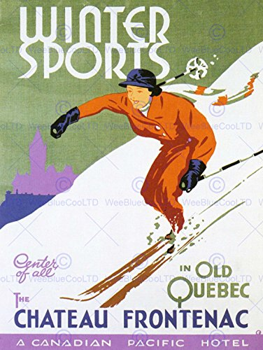 (Wee Blue Coo Prints TRAVEL WINTER SPORT SKI SNOW QUEBEC CANADA FRONTENAC HOTEL POSTER 30X40 CM 12X16 IN PRINT)