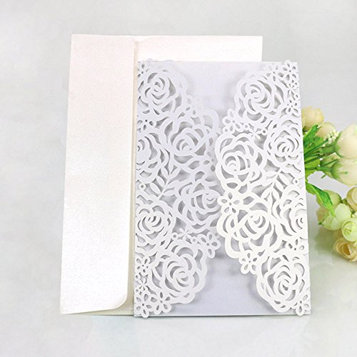 WOMHOPE® 50 Pcs - Large Rose Hollow Laser Cut Wedding Invitation Lace Shimmer Party Invitations Cards Birthday Invitations Cards Wedding Favors (White (Champagne inner sheet))