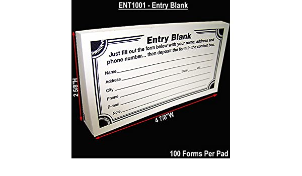 Amazon.com : Blank Contest Entry Forms, 100 Sheets Per Pad (Pack ...