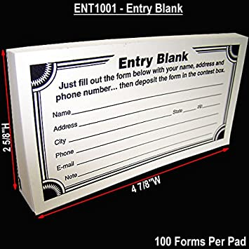 Amazon.Com : Blank Contest Entry Forms, 100 Sheets Per Pad (Pack