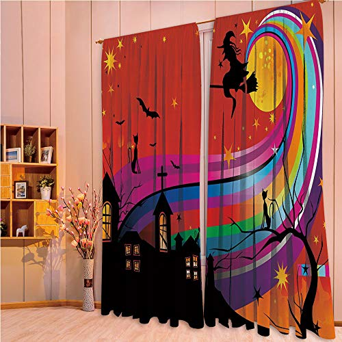 ZHICASSIESOPHIER Modern Style Room Darkening Blackout Window Treatment Curtain Valance for Kitchen/Living Room/Bedroom/Laundry,Bats Cat Stars Rainbow Moon Castle Abstract 108Wx95L Inch