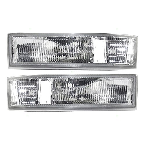 Driver and Passenger Park Signal Side Marker Lights Lamps Lenses Replacement for Chevrolet GMC Van 16523211 (Park Lamp Lens)