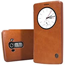 LG G4 leather case cover +Touch-U Holder , Nillkin Qin Sleep / Wake up flip leather case cover For LG G4 , Nillkin retail box (Brown)