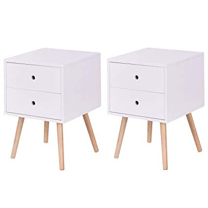 648ae865622 Image Unavailable. Image not available for. Color  Giantex Side End Table  W 2 Drawers Mid-Century Accent for Bedroom Living Storage