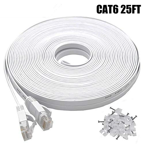 Cat6 Ethernet Cable 25 FT White, BUSOHE Cat-6 Flat RJ45 Computer Internet LAN Network Ethernet Patch Cable Cord - 25 Feet