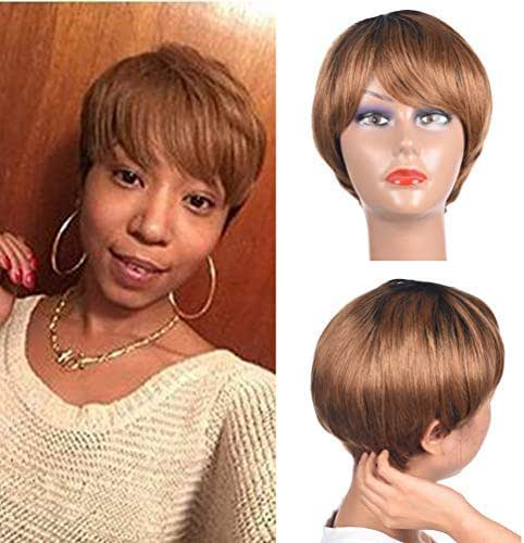 Short Human Hair Pixie Wigs Human Hair Short Wigs for Lady 10A Brown Human Hair Wig Ombre Color 1b/30