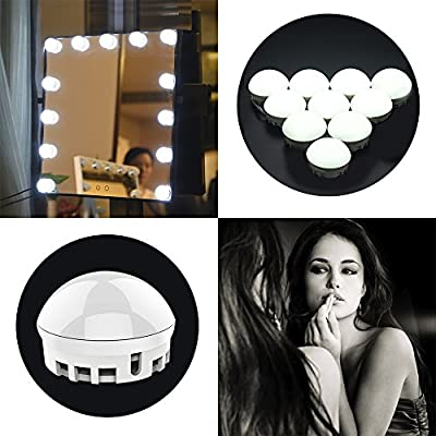 Tomshine LED Vanity Mirror Lights Kit, Hollywood Style Makeup Lights with 10 Dimmable Bulbs, USB Powered & Operated Hidden Stretchable Length for Table Set, Bathroom Mirror in Dressing Room