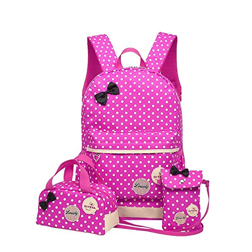 Polka Dot 3pcs Kids Book Bag Purse School Backpack Water Repellent Girls Teen