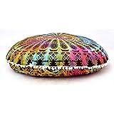 """Handicraftspalace"" Floor Pillow Cover Tie Dye Multicolor Large 32"" Cushion Coevr Outdoor Pillow Case Meditation Ottoman Poufs Cotton Handmade"