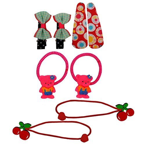 [Maayra Kids Tic Tac Clips Rubber Bands combo Teddy Bow Cherry in Multicolour for Dailywear Pack of 8] (Benefit Ballet Costumes)