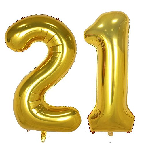 Partigos 40inch Gold 21st Number balloon For Birthday Party Festival Decorations Jumbo foil helium balloons party supplies use them as Props for Photos (40inch gold number 21) (21st Balloons And Banners)