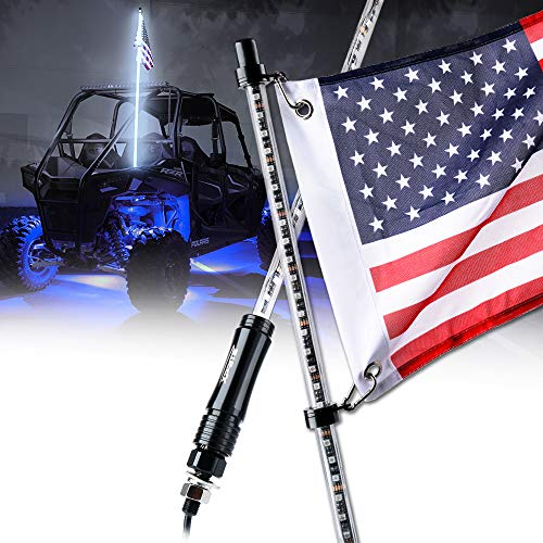 Xprite 5ft (1.5M) LED Whip Lights Waterproof Flag Pole Safety Antenna w/Flag for Offroad Jeep Sand Dune Buggy UTV ATV Polaris RZR XP 1000 900 Yamaha 4X4 Trophy Truck - WHITE