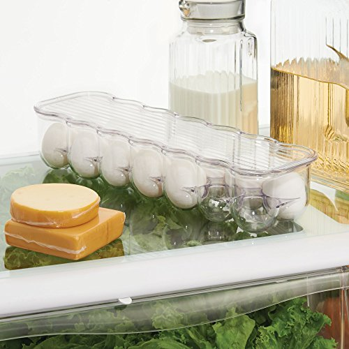 mDesign Stackable Plastic Covered Egg Tray Holder, Storage Container and Organizer for Refrigerator, Carrier Bin with Lid and Handle - Each Holds 14 Eggs - Pack of 2, Clear by mDesign (Image #3)