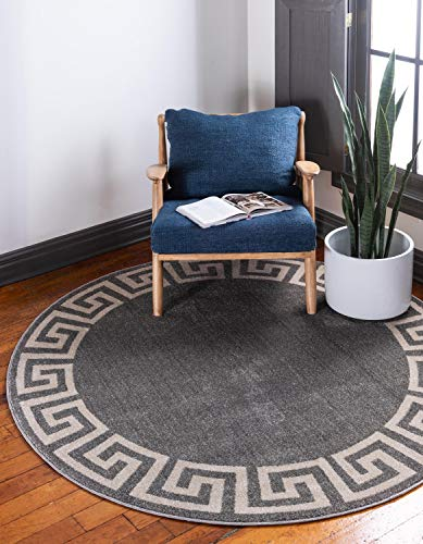- Unique Loom Athens Collection Geometric Casual Modern Border Gray Round Rug (6' 0 x 6' 0)
