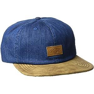 Dickies Men's Leather Bill Slouch Snapback Baseball Hat, Denim Blue