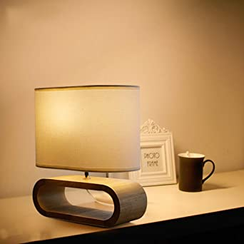 CUICAN Madera Lámparas De Mesa,Moderno Innovador Cálido Lámparas De Mesa Para Escritorio Oficina Sala De Estar Dormitorio Cabecera Lámpara Escritorio-Blanco 33x33cm(13x13inch): Amazon.es: Iluminación