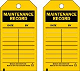 Brady  86445 5 3/4'' Height x 3'' Width, Heavy Duty Polyester (B-837), Black on Yellow Inspection & Material Control Tags (10 Tags)