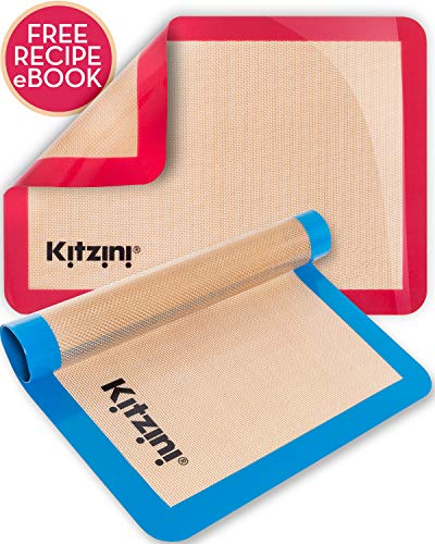 Silicone Baking Mat Set of 2 - Two Half Non Stick Sheet Mats - Large BPA Free Professional Grade Liner Sheets - Perfect Bakeware for Making, Cookie, Macarons, Bread and Pastry by Kitzini