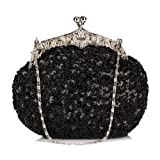 Chicastic Fully Sequined Mesh Beaded Antique Style Wedding Evening Formal Cocktail Clutch Purse – Black, Bags Central