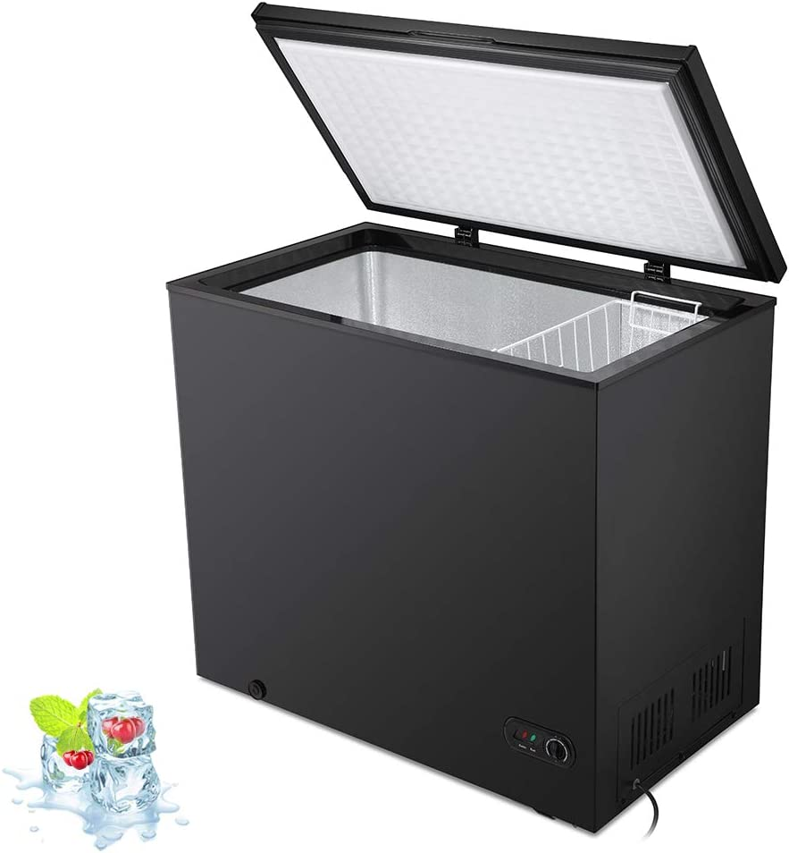 Kismile 7.0 Cubic Feet Chest Freezer with Removable Basket Free Standing Top open Door Compact Freezer with Adjustable Temperature for Home/Kitchen/Office/Bar (7.0 Cubic Feet, Black)
