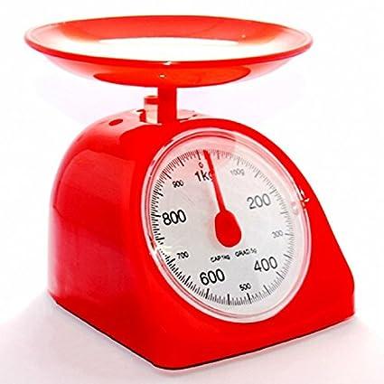 Oudan Básculas de Cocina mecánicas con balancín Spring Tazón de Cocina mecánica 1KG Precision Red
