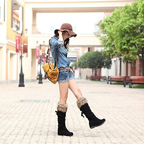 KALENDS 9 Size Winter Snow Boots Women Stylish and Comfortable Knee High boots Wedges Motorcycle Boots Black pGxzlgt