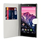 32nd® Book wallet PU leather case cover for Huawei Nexus 6P (2015), including touch stylus - White