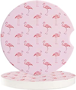 Absorbent Car Coasters for Cup Holders Pink Flamingos, Small 2.56inch Ceramic Stone Drink Coaster for Women Men, Romantic Summer Set of 2 Pack