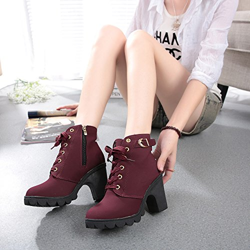 Sunhusing Women's Round Toe High-Heel Platform Short Boots Female Ladies Lace-Up Buckle Ankle Booties -
