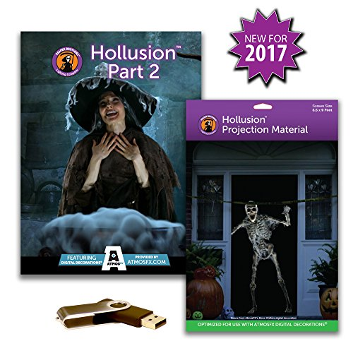 AtmosFearFX HOLLUSION PART 2 Compilation Video on USB with large Hollusion Projection Screen. Includes effects from Ghostly Apparitions, Macabre Manor and Phantasms & Witching Hour - Fx Halloween
