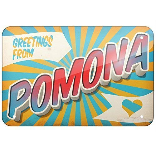 (Jacksoney Tin Sign New Aluminum Greetings from Pomona Postcard 11.8 x 7.8 Inch)