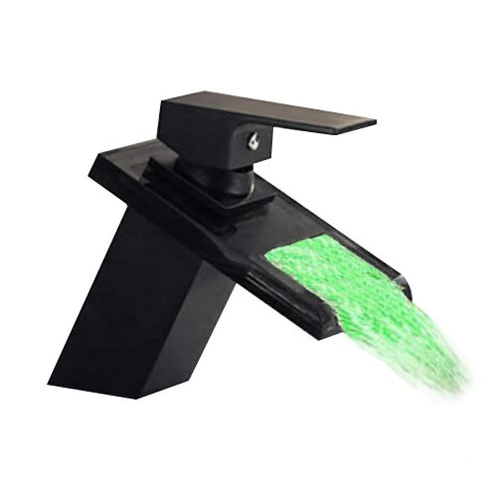 Jueven Bronce con Aceite lubricado LED Azul/Verde / Rojo Cascada con luz del bañ o Grifo para lavamanos, Grifo para lavamanos de un Solo Orificio para Lavabo, Grifo Mezclador para Lavabo Superw